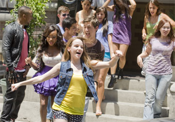 NATURI NAUGHTON (left), KAY PANABAKER (center) and ASHER BOOK (right) perform in the music video for the theme song from Fame, in theaters September 25, 2009.